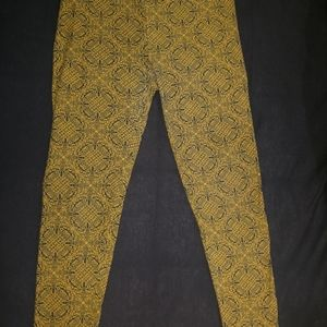 Yellow and navy Lularoe leggings OS